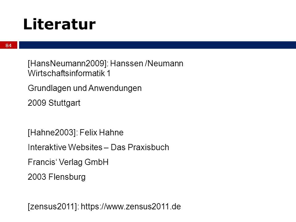Literatur 84 [HansNeumann2009]: Hanssen /Neumann Wirtschaftsinformatik 1 Grundlagen und Anwendungen 2009 Stuttgart [Hahne2003]: Felix Hahne Interaktiv