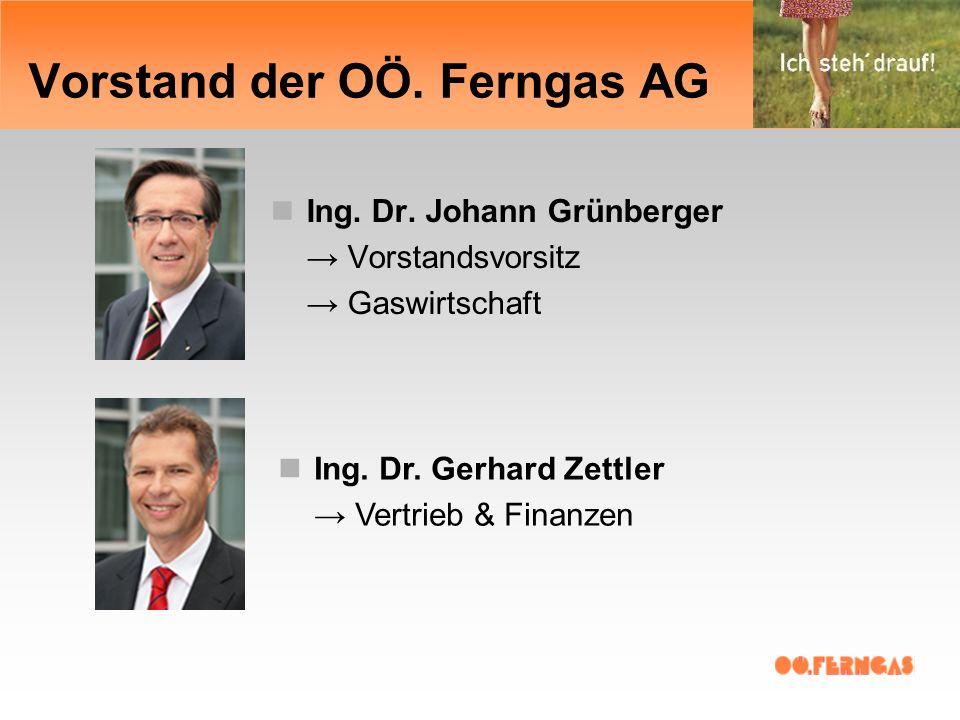 Vorstand der OÖ. Ferngas AG Ing. Dr. Johann Grünberger Vorstandsvorsitz Gaswirtschaft Ing.