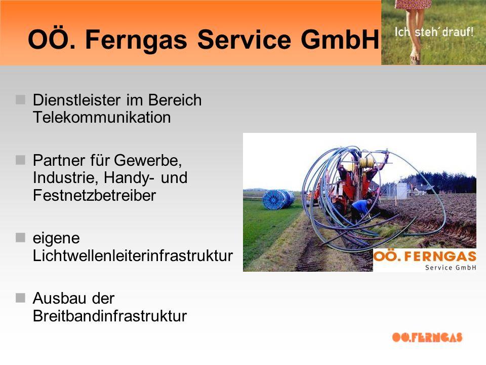 OÖ. Ferngas Service GmbH Dienstleister im Bereich Telekommunikation Partner für Gewerbe, Industrie, Handy- und Festnetzbetreiber eigene Lichtwellenlei