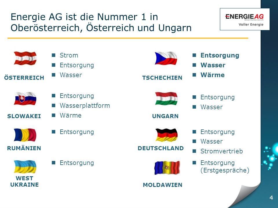 Energie AG ist die Nummer 1 in Oberösterreich, Österreich und Ungarn Strom Entsorgung Wasser Entsorgung Wasser Stromvertrieb RUMÄNIENDEUTSCHLAND ÖSTERREICH UNGARN TSCHECHIEN SLOWAKEI Entsorgung Wasser Entsorgung Wasserplattform Wärme Entsorgung Wasser Wärme MOLDAWIEN Entsorgung (Erstgespräche) Entsorgung WEST UKRAINE 4