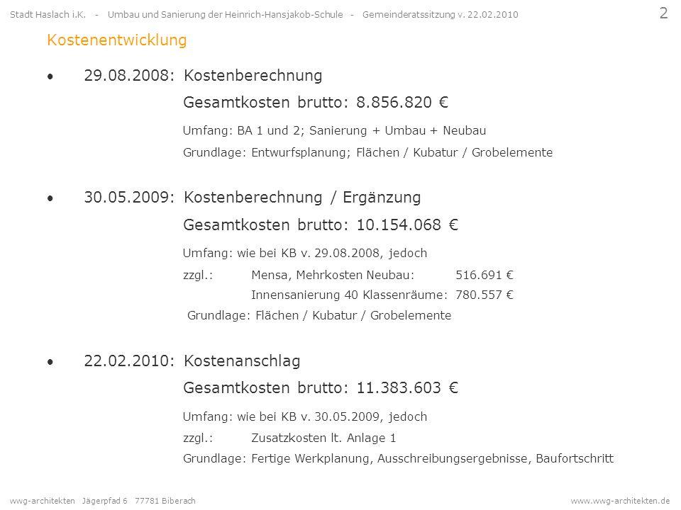 wwg-architekten Jägerpfad 6 77781 Biberach www.wwg-architekten.de 2 Stadt Haslach i.K. - Umbau und Sanierung der Heinrich-Hansjakob-Schule - Gemeinder