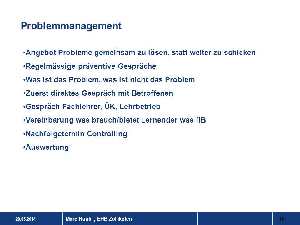 20.05.2014 10 Marc Rauh, EHB Zollikofen Problemmanagement Angebot Probleme gemeinsam zu lösen, statt weiter zu schicken Regelmässige präventive Gesprä