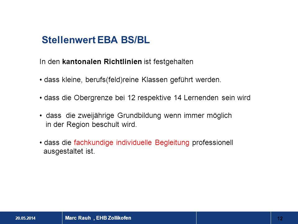 20.05.2014 12 Marc Rauh, EHB Zollikofen Stellenwert EBA BS/BL In den kantonalen Richtlinien ist festgehalten dass kleine, berufs(feld)reine Klassen ge
