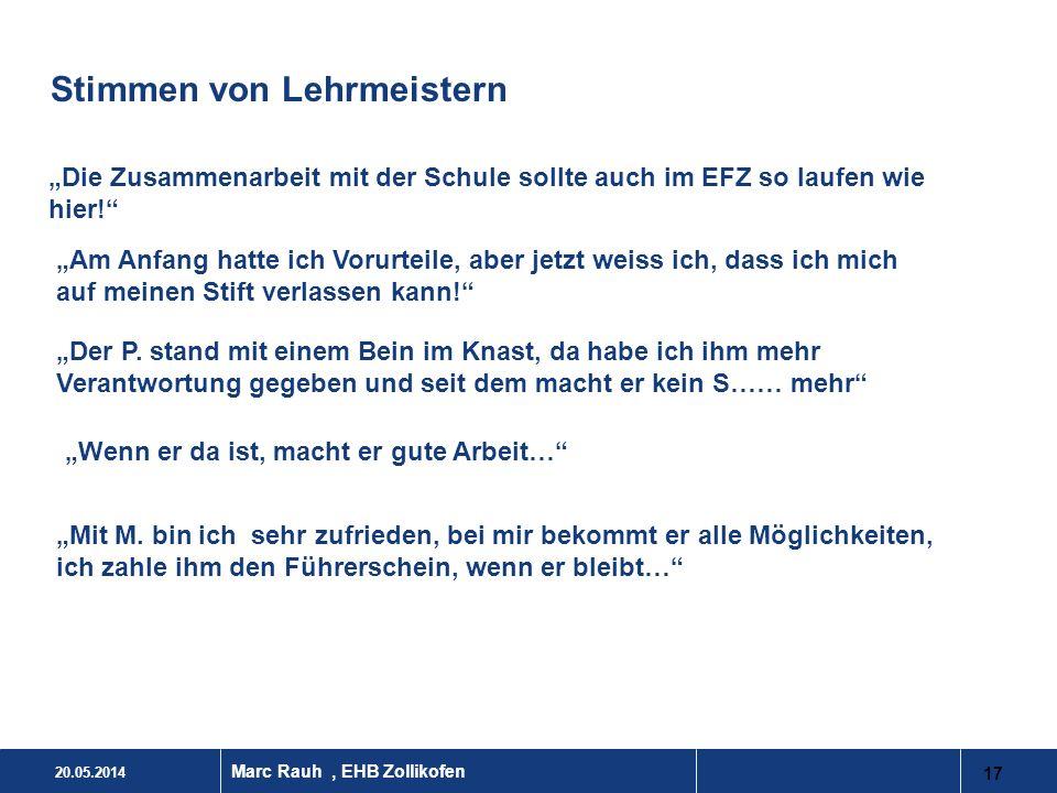 20.05.2014 17 Marc Rauh, EHB Zollikofen Stimmen von Lehrmeistern Die Zusammenarbeit mit der Schule sollte auch im EFZ so laufen wie hier! Am Anfang ha