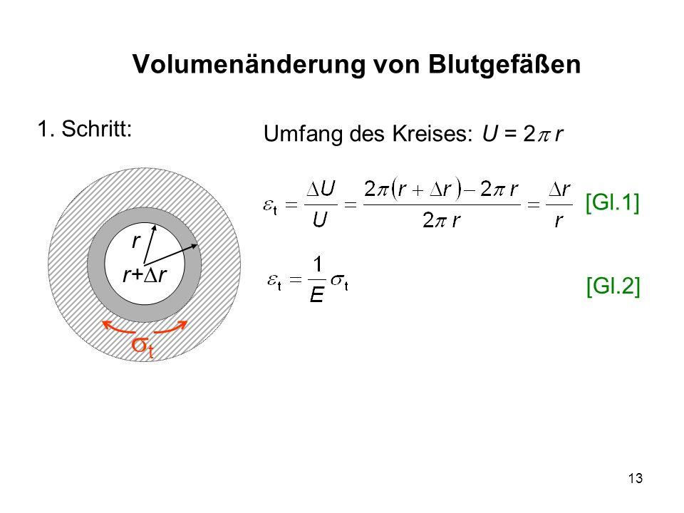 13 Volumenänderung von Blutgefäßen r r+ r t 1. Schritt: [Gl.1] [Gl.2] Umfang des Kreises: U = 2 r