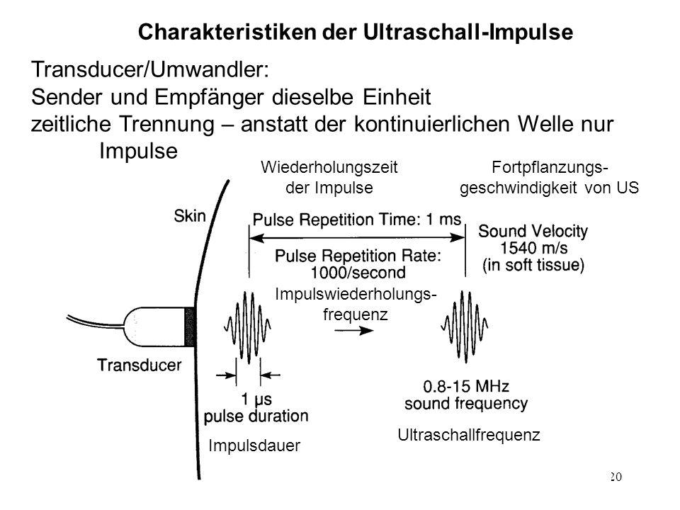 20 Charakteristiken der Ultraschall-Impulse Transducer/Umwandler: Sender und Empfänger dieselbe Einheit zeitliche Trennung – anstatt der kontinuierlic