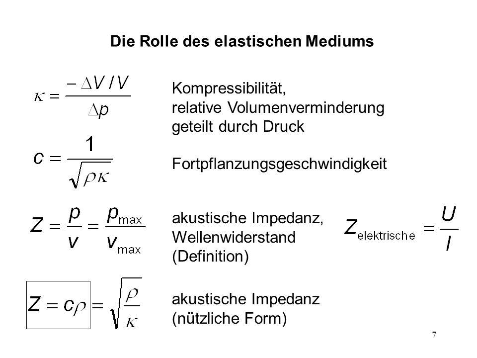 7 Kompressibilität, relative Volumenverminderung geteilt durch Druck Fortpflanzungsgeschwindigkeit akustische Impedanz, Wellenwiderstand (Definition)