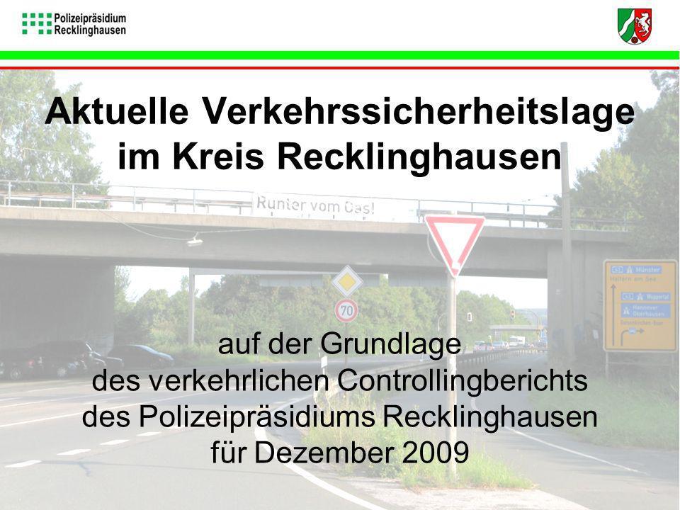 Bei der abschließenden Vorstellung der Projektergebnisse wurde die Unfalllage für den Kreis Recklinghausen auf der Grundlage der Daten aus dem Verkehrsbericht 2008 des Polizeipräsidiums Recklinghausen dargestellt sowie anhand ausgewählter Daten für den Zeitraum der ersten drei Quartale 2009 ausgewählter Daten für den Zeitraum der ersten drei Quartale 2009.