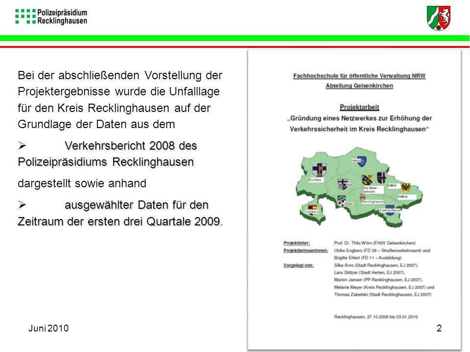 Bei der abschließenden Vorstellung der Projektergebnisse wurde die Unfalllage für den Kreis Recklinghausen auf der Grundlage der Daten aus dem Verkehr