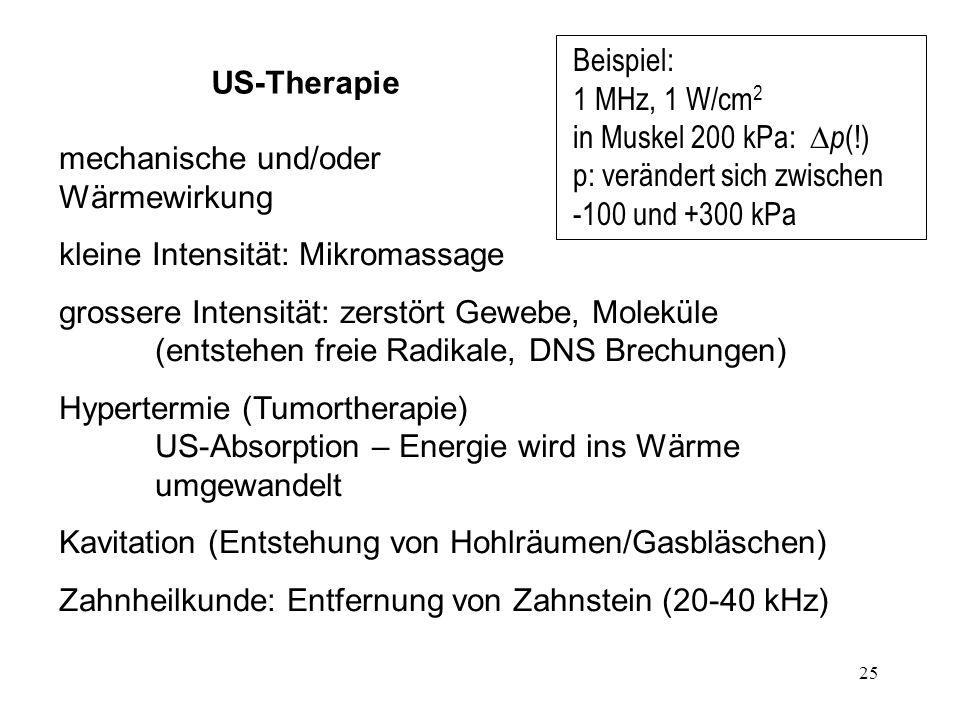 25 US-Therapie mechanische und/oder Wärmewirkung kleine Intensität: Mikromassage grossere Intensität: zerstört Gewebe, Moleküle (entstehen freie Radik