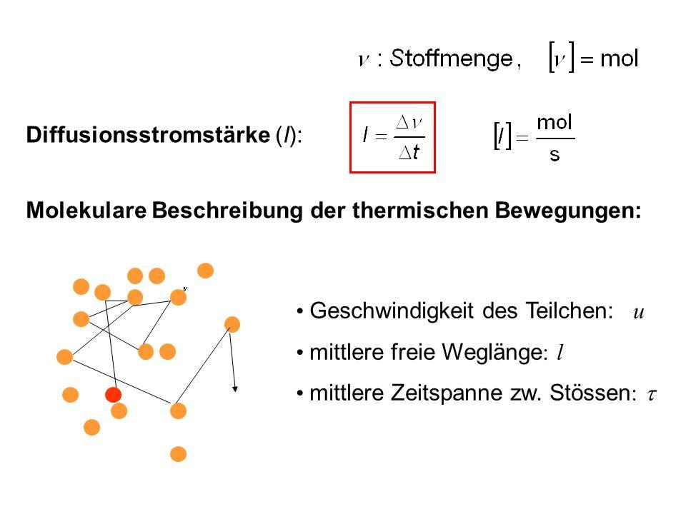 Diffusionsstromstärke (I): Molekulare Beschreibung der thermischen Bewegungen: Geschwindigkeit des Teilchen: u mittlere freie Weglänge : l mittlere Ze