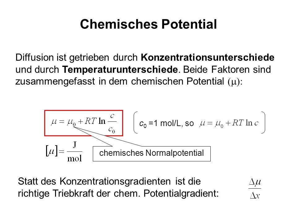 Chemisches Potential Diffusion ist getrieben durch Konzentrationsunterschiede und durch Temperaturunterschiede. Beide Faktoren sind zusammengefasst in
