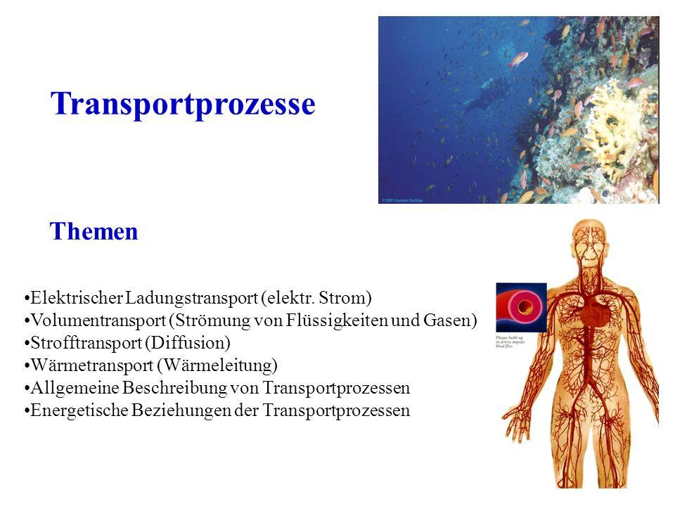 Themen Transportprozesse Elektrischer Ladungstransport (elektr. Strom) Volumentransport (Strömung von Flüssigkeiten und Gasen) Strofftransport (Diffus