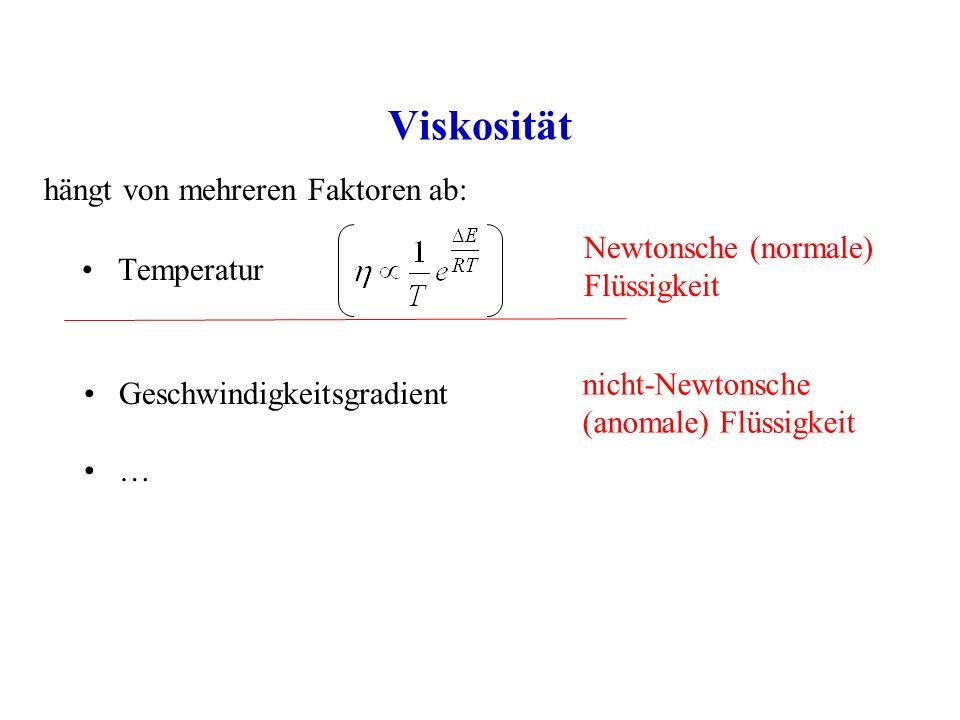 Viskosität Temperatur hängt von mehreren Faktoren ab: Newtonsche (normale) Flüssigkeit nicht-Newtonsche (anomale) Flüssigkeit Geschwindigkeitsgradient …