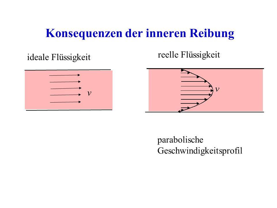 Konsequenzen der inneren Reibung ideale Flüssigkeit reelle Flüssigkeit parabolische Geschwindigkeitsprofil v