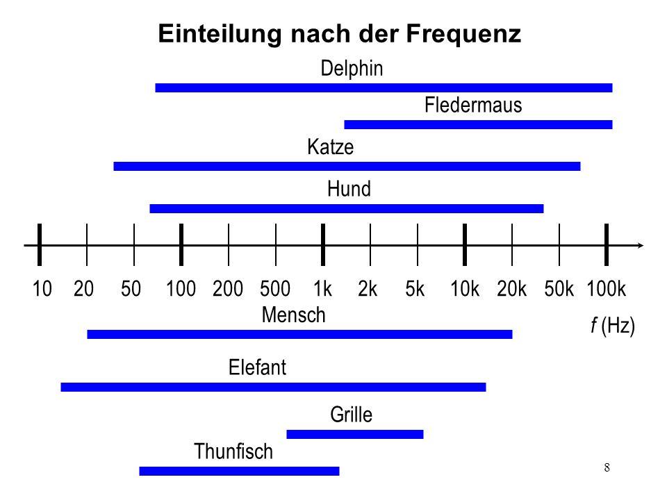 8 20200501002k5k10k20k50k100k5001k f (Hz) Fledermaus Delphin Mensch Thunfisch Grille Hund 10 Elefant Katze Einteilung nach der Frequenz