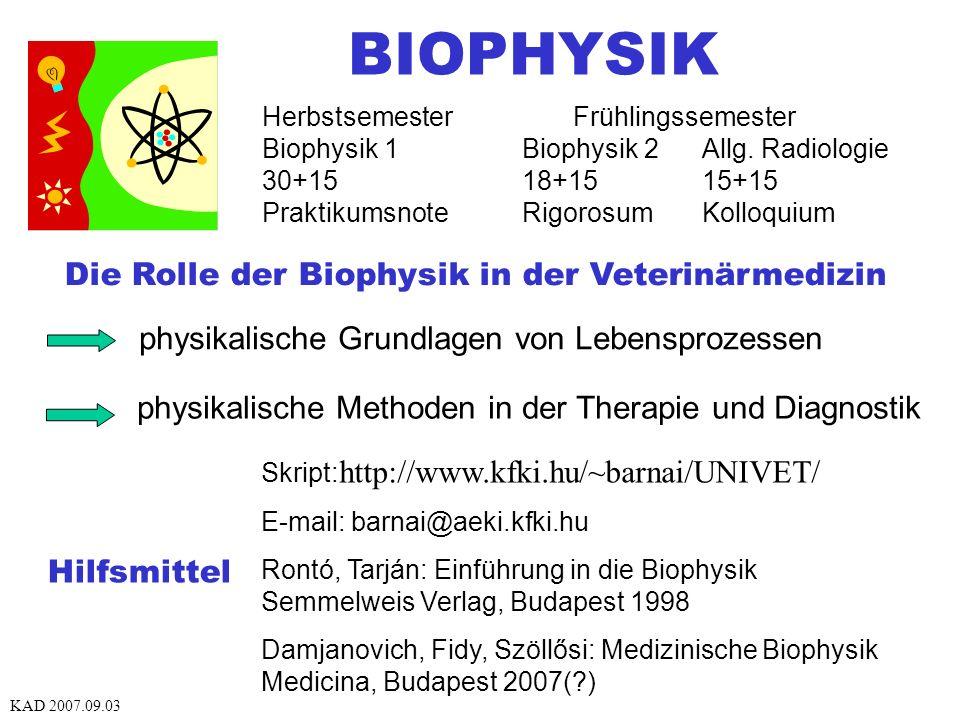 BIOPHYSIK Die Rolle der Biophysik in der Veterinärmedizin physikalische Grundlagen von Lebensprozessen physikalische Methoden in der Therapie und Diagnostik Skript: http://www.kfki.hu/~barnai/UNIVET/ E-mail: barnai@aeki.kfki.hu Rontó, Tarján: Einführung in die Biophysik Semmelweis Verlag, Budapest 1998 Damjanovich, Fidy, Szöllősi: Medizinische Biophysik Medicina, Budapest 2007(?) Hilfsmittel Herbstsemester Frühlingssemester Biophysik 1Biophysik 2Allg.