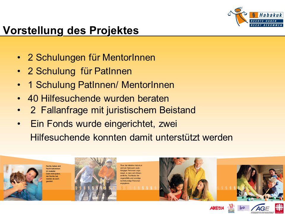 Vorstellung des Projektes 2 Schulungen für MentorInnen 2 Schulung für PatInnen 1 Schulung PatInnen/ MentorInnen 40 Hilfesuchende wurden beraten 2 Fall