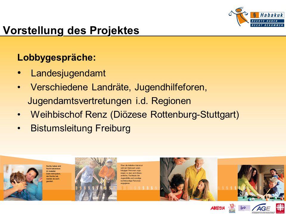 Vorstellung des Projektes Lobbygespräche: Landesjugendamt Verschiedene Landräte, Jugendhilfeforen, Jugendamtsvertretungen i.d. Regionen Weihbischof Re