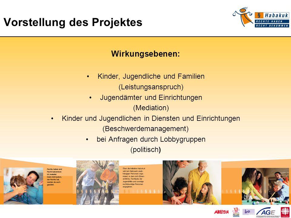 Vorstellung des Projektes Vorstellung des Projektes Wirkungsebenen: Kinder, Jugendliche und Familien (Leistungsanspruch) Jugendämter und Einrichtungen