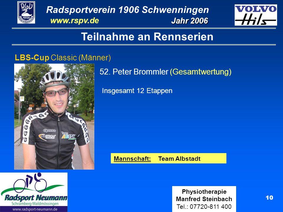 Radsportverein 1906 Schwenningen Jahr 2006 www.rspv.de Physiotherapie Manfred Steinbach Tel.: 07720-811 400 11 Teilnahme an Rennserien Radsportwoche Bad Krozingen (Senioren) 13.