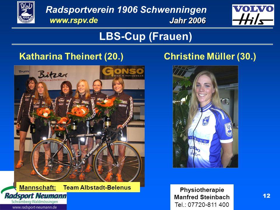 Radsportverein 1906 Schwenningen Jahr 2006 www.rspv.de Physiotherapie Manfred Steinbach Tel.: 07720-811 400 12 LBS-Cup (Frauen) Christine Müller (30.)