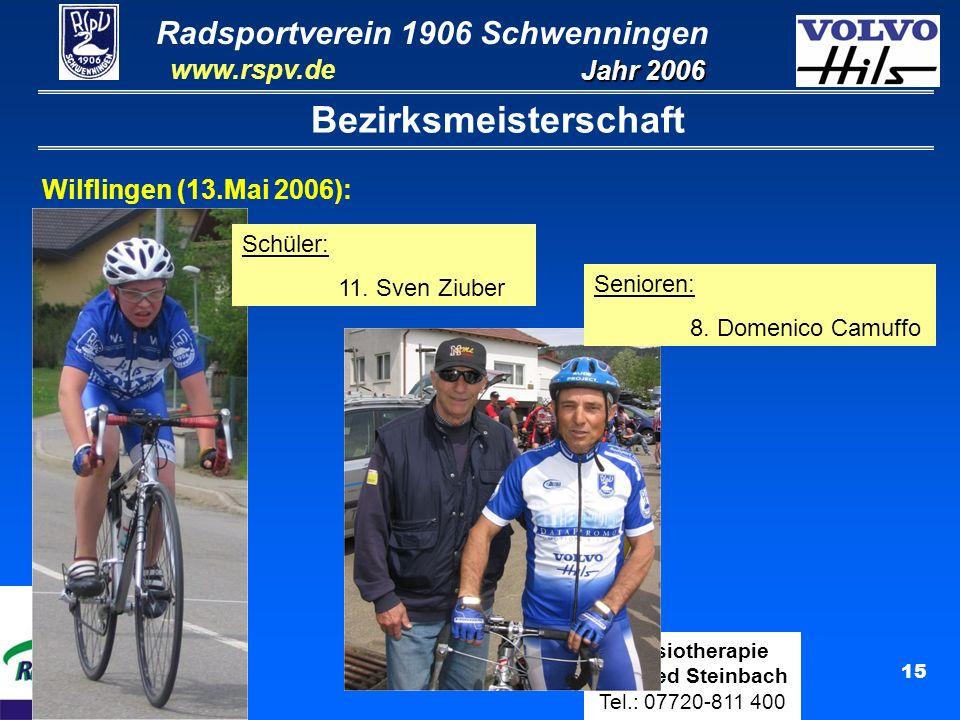 Radsportverein 1906 Schwenningen Jahr 2006 www.rspv.de Physiotherapie Manfred Steinbach Tel.: 07720-811 400 16 Bezirksmeisterschaft Wilflingen (13.Mai 2006): Amateure: 9.