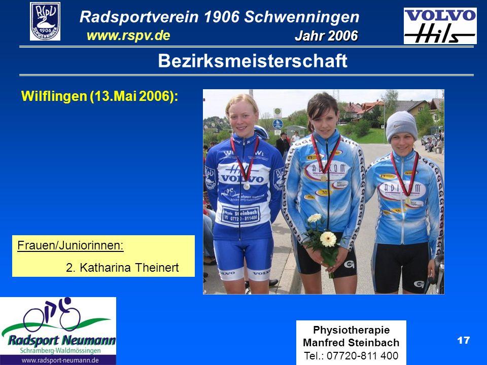 Radsportverein 1906 Schwenningen Jahr 2006 www.rspv.de Physiotherapie Manfred Steinbach Tel.: 07720-811 400 18 Teilnahme an Landesmeisterschaften Ergebnisse Landesmeisterschaften: LVM Straße in Geislingen Schülerinnen U11:3.