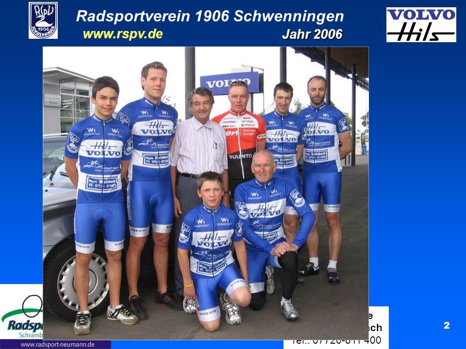Radsportverein 1906 Schwenningen Jahr 2006 www.rspv.de Physiotherapie Manfred Steinbach Tel.: 07720-811 400 3 Fahrer und Zahl der Rennen 14 Lizenzfahrer aktiv 229 Rennen insgesamt ( Jahr 2003: 14 ) ( Jahr 2004: 402 ) ( Jahr 2004: 19 ) ( Jahr 2003: 339 ) ( Jahr 2005: 10 ) ( Jahr 2005: 253 )