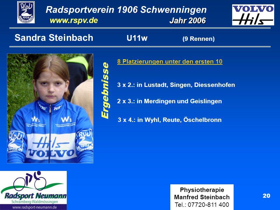 Radsportverein 1906 Schwenningen Jahr 2006 www.rspv.de Physiotherapie Manfred Steinbach Tel.: 07720-811 400 21 Maximilian Steinbach U15 (19 Rennen) 4 Platzierungen unter den ersten 10 Ranglisten: 35.