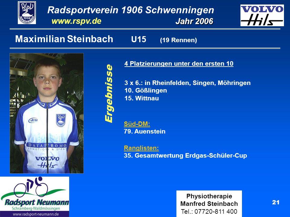 Radsportverein 1906 Schwenningen Jahr 2006 www.rspv.de Physiotherapie Manfred Steinbach Tel.: 07720-811 400 21 Maximilian Steinbach U15 (19 Rennen) 4