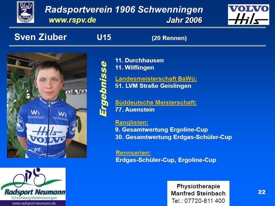 Radsportverein 1906 Schwenningen Jahr 2006 www.rspv.de Physiotherapie Manfred Steinbach Tel.: 07720-811 400 22 Sven Ziuber U15 (20 Rennen) 11. Durchha