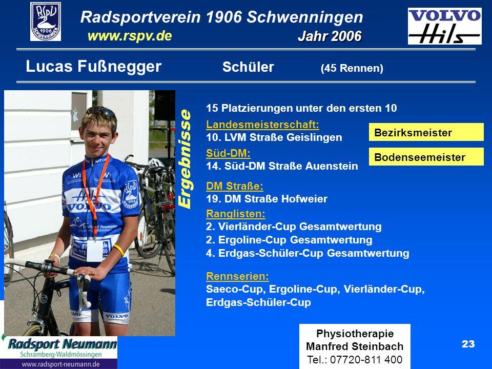 Radsportverein 1906 Schwenningen Jahr 2006 www.rspv.de Physiotherapie Manfred Steinbach Tel.: 07720-811 400 23 Lucas Fußnegger Schüler (45 Rennen) Ran