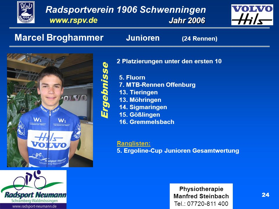 Radsportverein 1906 Schwenningen Jahr 2006 www.rspv.de Physiotherapie Manfred Steinbach Tel.: 07720-811 400 24 Marcel Broghammer Junioren (24 Rennen)