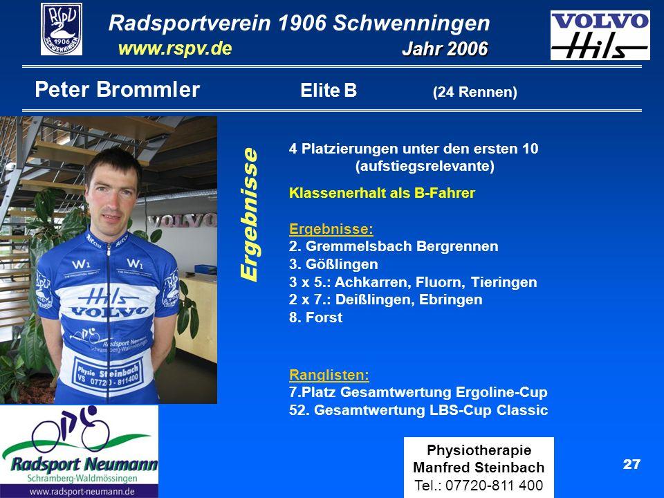 Radsportverein 1906 Schwenningen Jahr 2006 www.rspv.de Physiotherapie Manfred Steinbach Tel.: 07720-811 400 28 Werner Vollmann Elite C (10 Rennen) Ergebnisse Ranglisten: 41.Platz Gesamtwertung Ergoline-Cup Ergebnisse: 4.