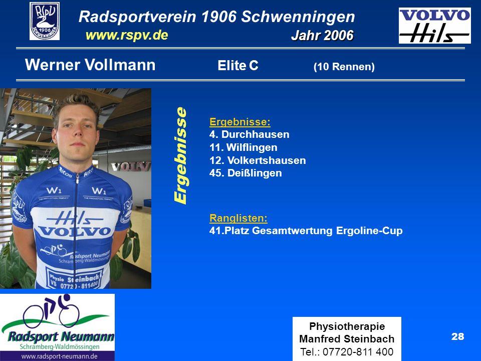 Radsportverein 1906 Schwenningen Jahr 2006 www.rspv.de Physiotherapie Manfred Steinbach Tel.: 07720-811 400 29 Jörg Kluge Senioren (10 Rennen) Ergebnisse Ranglisten: 50.Platz Gesamtwertung Ergoline-Cup Ergebnisse: 20.