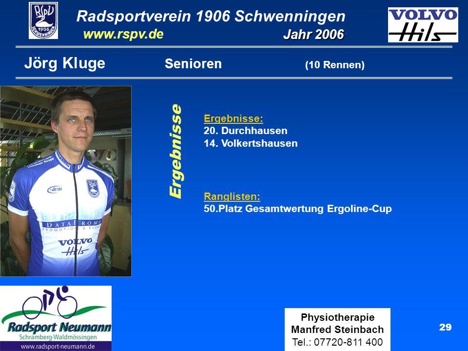 Radsportverein 1906 Schwenningen Jahr 2006 www.rspv.de Physiotherapie Manfred Steinbach Tel.: 07720-811 400 29 Jörg Kluge Senioren (10 Rennen) Ergebni