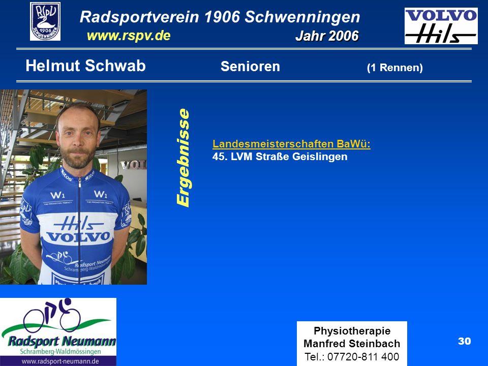 Radsportverein 1906 Schwenningen Jahr 2006 www.rspv.de Physiotherapie Manfred Steinbach Tel.: 07720-811 400 31 Manfred Steinbach Senioren (3 Rennen) Teilnahme: Singen, Reute Ergebnisse Landesmeisterschaften BaWü: 46.