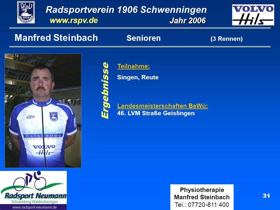 Radsportverein 1906 Schwenningen Jahr 2006 www.rspv.de Physiotherapie Manfred Steinbach Tel.: 07720-811 400 32 Domenico Camuffo Senioren (15 Rennen) Straßenrennen: 8.