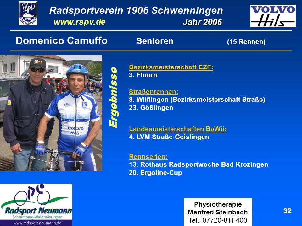 Radsportverein 1906 Schwenningen Jahr 2006 www.rspv.de Physiotherapie Manfred Steinbach Tel.: 07720-811 400 32 Domenico Camuffo Senioren (15 Rennen) S