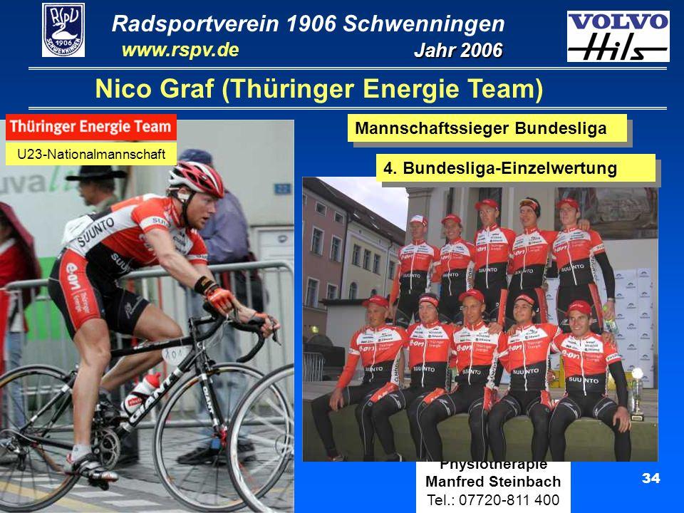 Radsportverein 1906 Schwenningen Jahr 2006 www.rspv.de Physiotherapie Manfred Steinbach Tel.: 07720-811 400 34 Nico Graf (Thüringer Energie Team) U23-