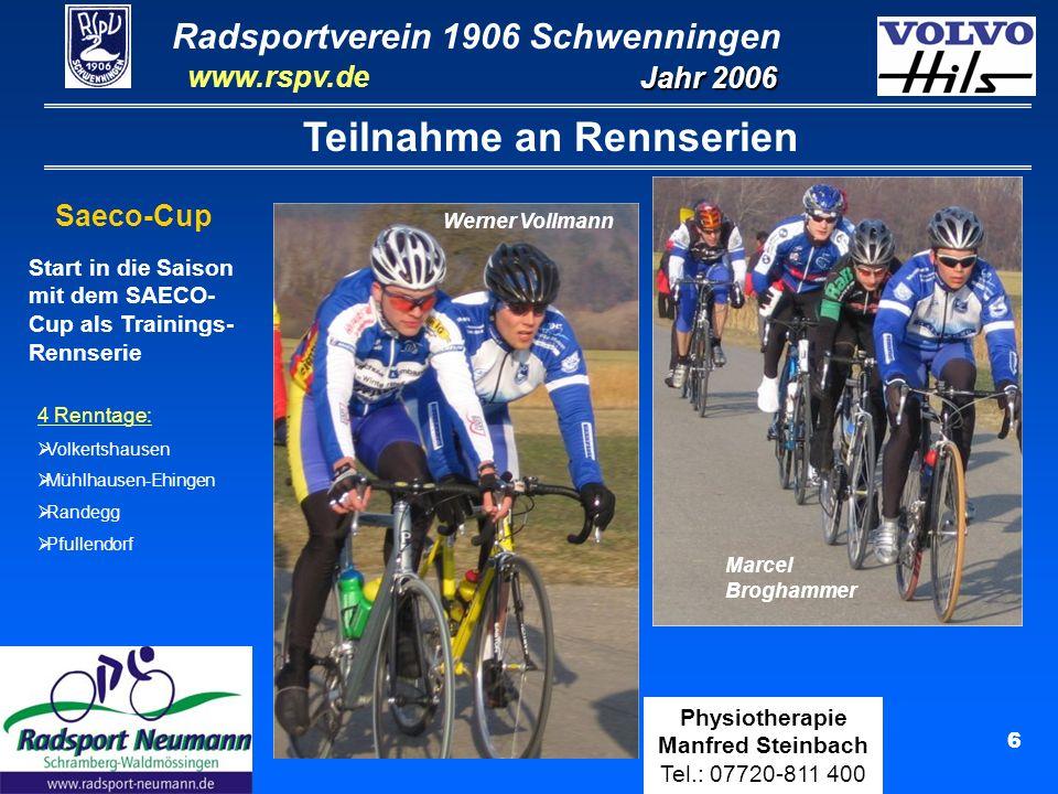 Radsportverein 1906 Schwenningen Jahr 2006 www.rspv.de Physiotherapie Manfred Steinbach Tel.: 07720-811 400 7 Teilnahme an Rennserien Ergoline-Cup (Bezirk Schwarzwald-Zollern) Ergebnisse: Hauptklasse:7.