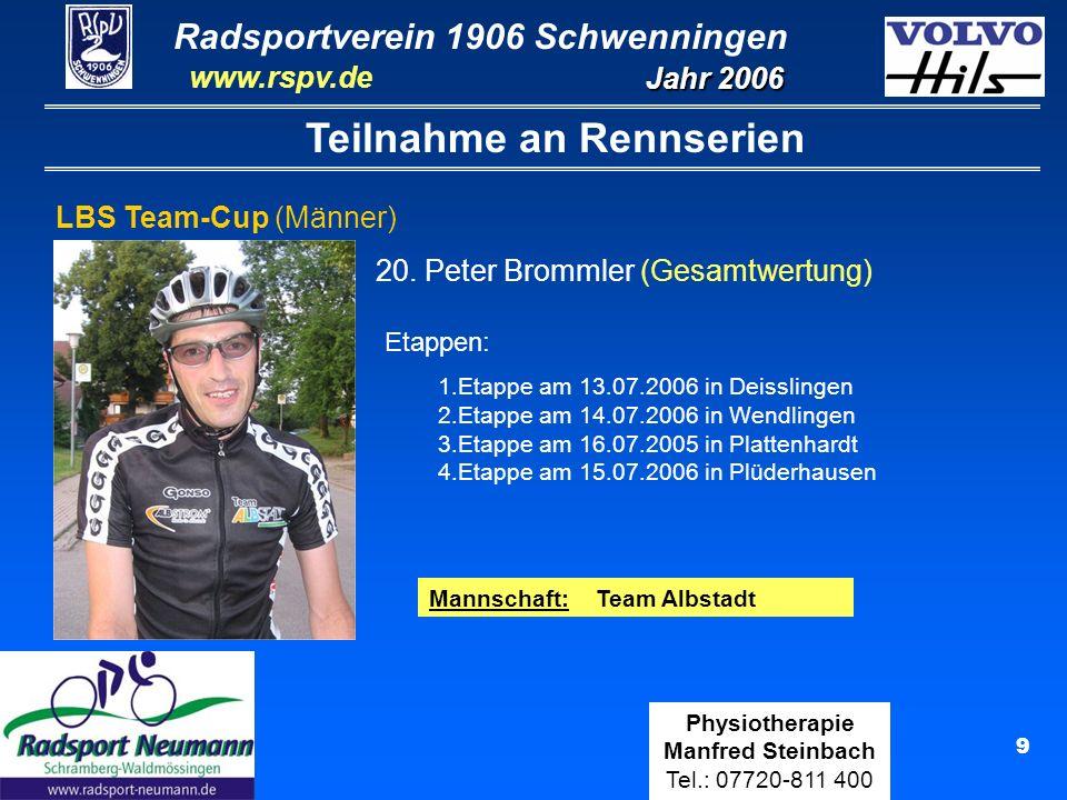Radsportverein 1906 Schwenningen Jahr 2006 www.rspv.de Physiotherapie Manfred Steinbach Tel.: 07720-811 400 9 Teilnahme an Rennserien LBS Team-Cup (Mä