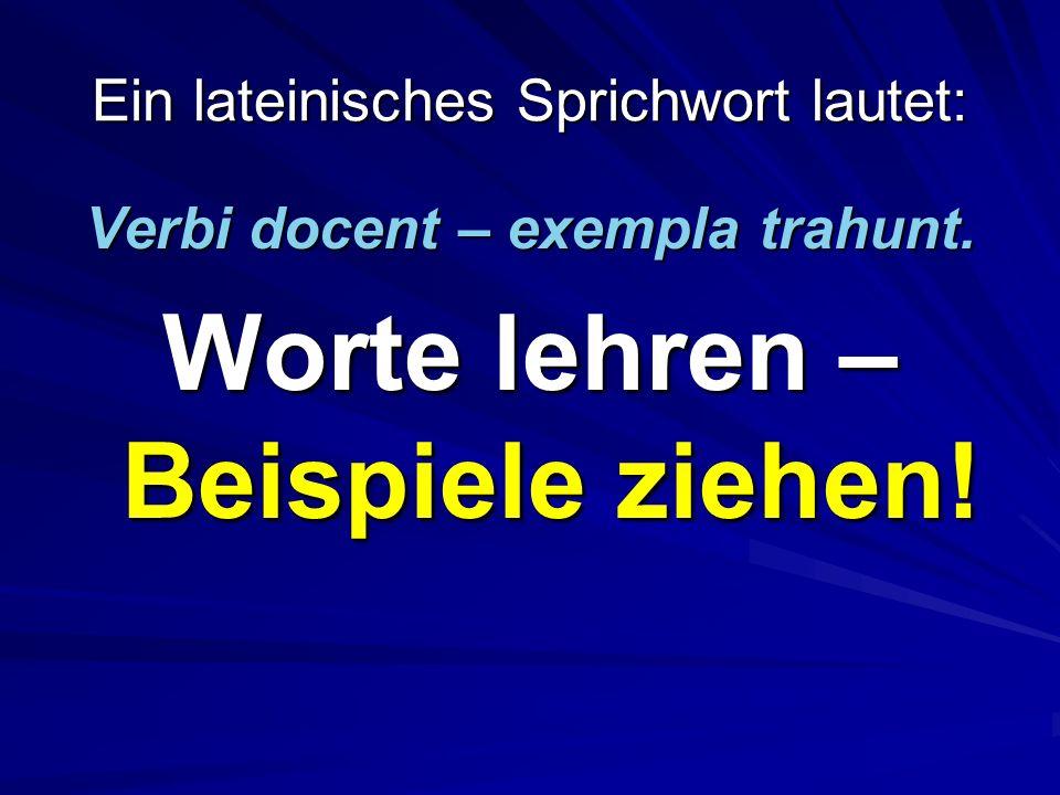 Ein lateinisches Sprichwort lautet: Verbi docent – exempla trahunt.