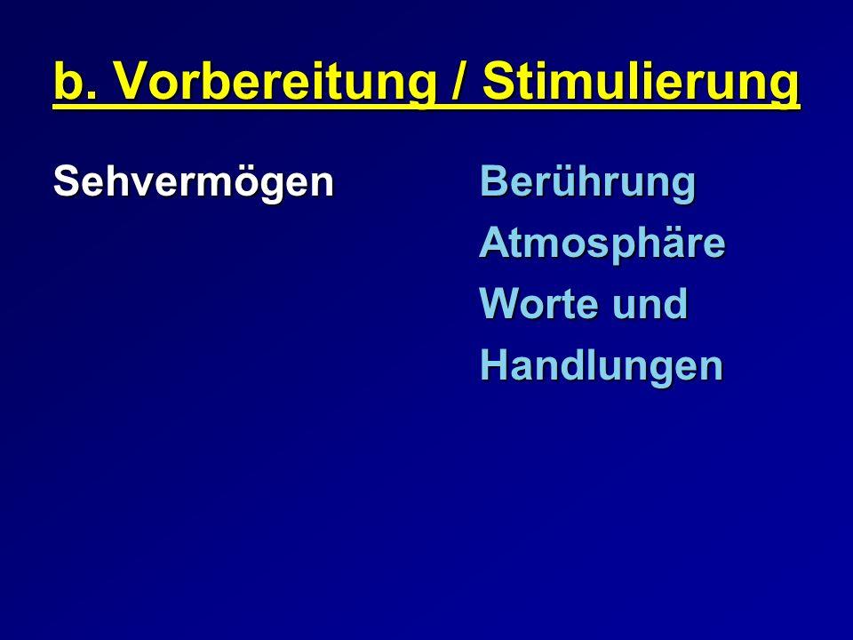 b. Vorbereitung / Stimulierung SehvermögenBerührung Atmosphäre Worte und Handlungen