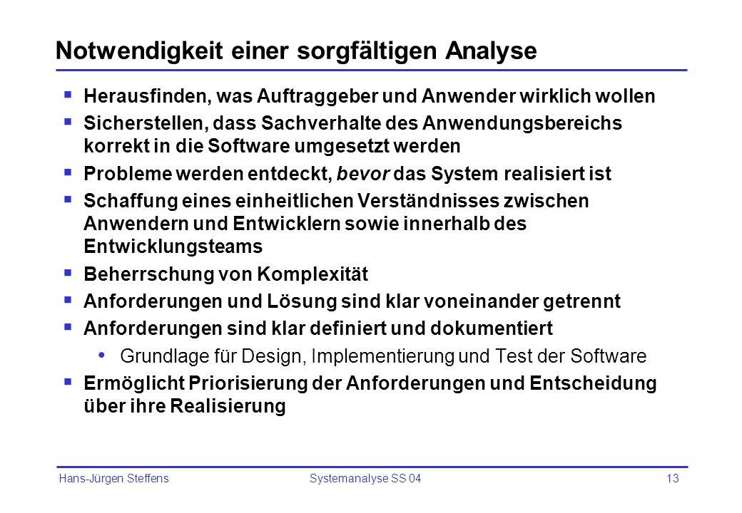 Hans-Jürgen Steffens Systemanalyse SS 0413 Notwendigkeit einer sorgfältigen Analyse Herausfinden, was Auftraggeber und Anwender wirklich wollen Sicher