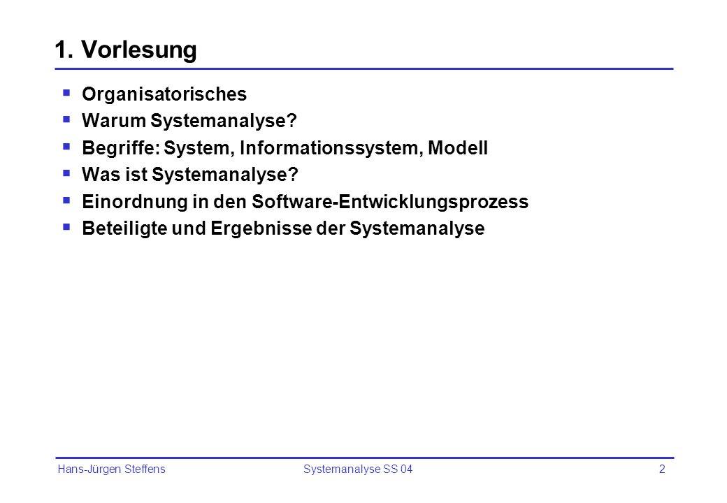 Hans-Jürgen Steffens Systemanalyse SS 042 1. Vorlesung Organisatorisches Warum Systemanalyse? Begriffe: System, Informationssystem, Modell Was ist Sys