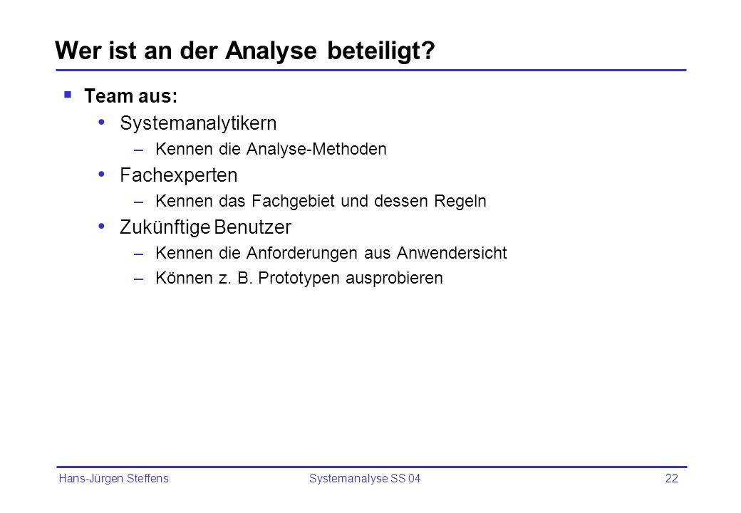 Hans-Jürgen Steffens Systemanalyse SS 0422 Wer ist an der Analyse beteiligt? Team aus: Systemanalytikern –Kennen die Analyse-Methoden Fachexperten –Ke