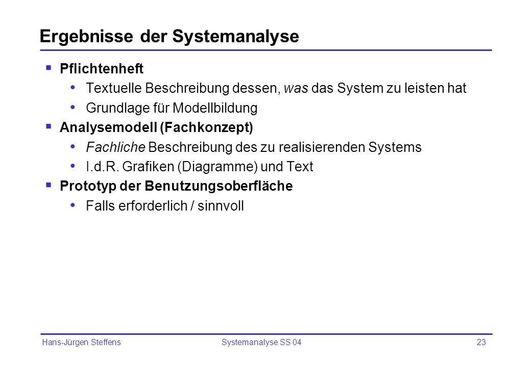 Hans-Jürgen Steffens Systemanalyse SS 0423 Ergebnisse der Systemanalyse Pflichtenheft Textuelle Beschreibung dessen, was das System zu leisten hat Gru