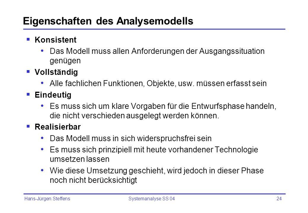 Hans-Jürgen Steffens Systemanalyse SS 0424 Eigenschaften des Analysemodells Konsistent Das Modell muss allen Anforderungen der Ausgangssituation genüg